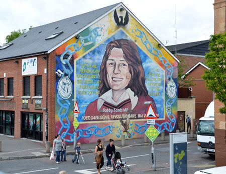 The bobby sands mural is in the republican falls road for Bobby sands mural falls road